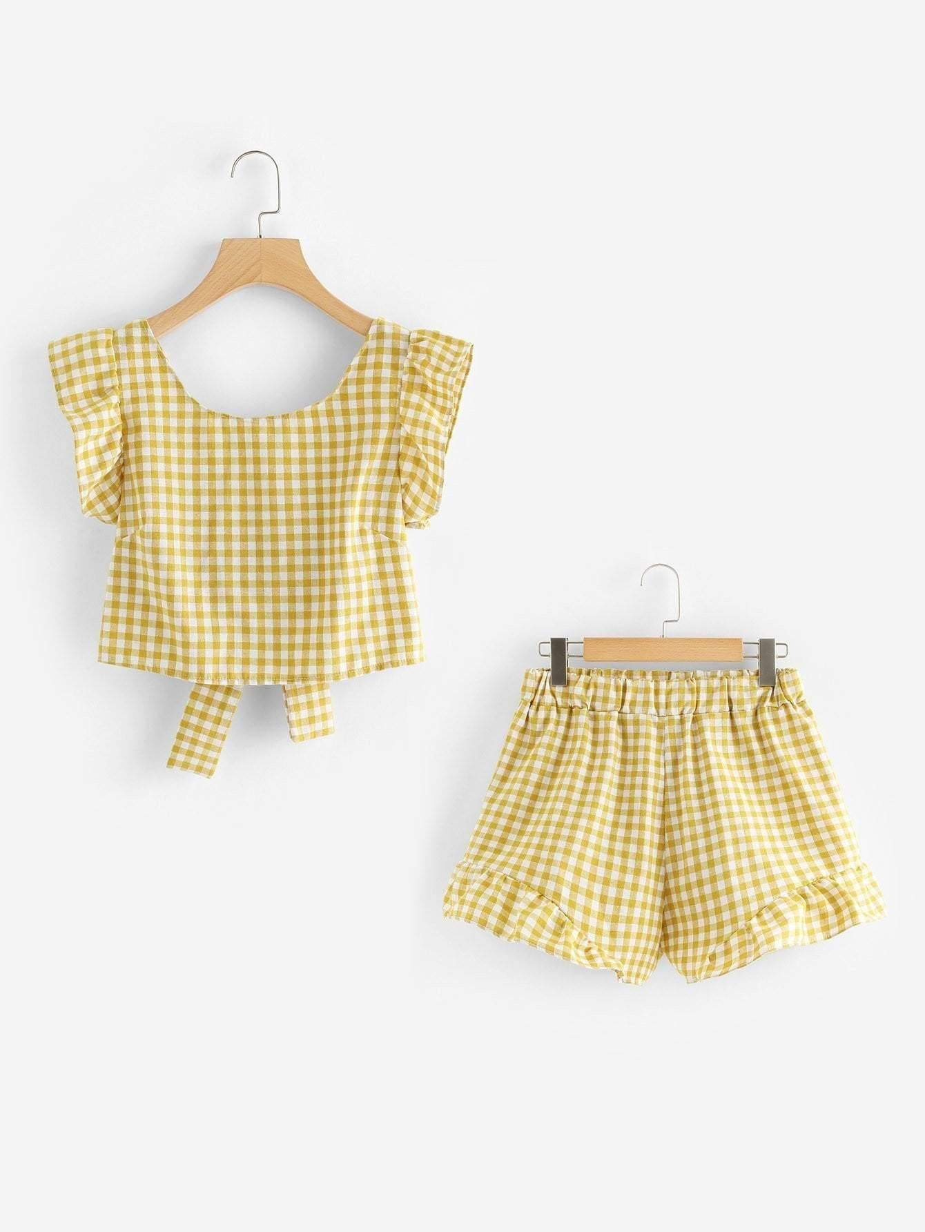 Gingham Knot Back And Shorts Co-Ord - Two Piece Outfits - Zooomberg - Zoomberg