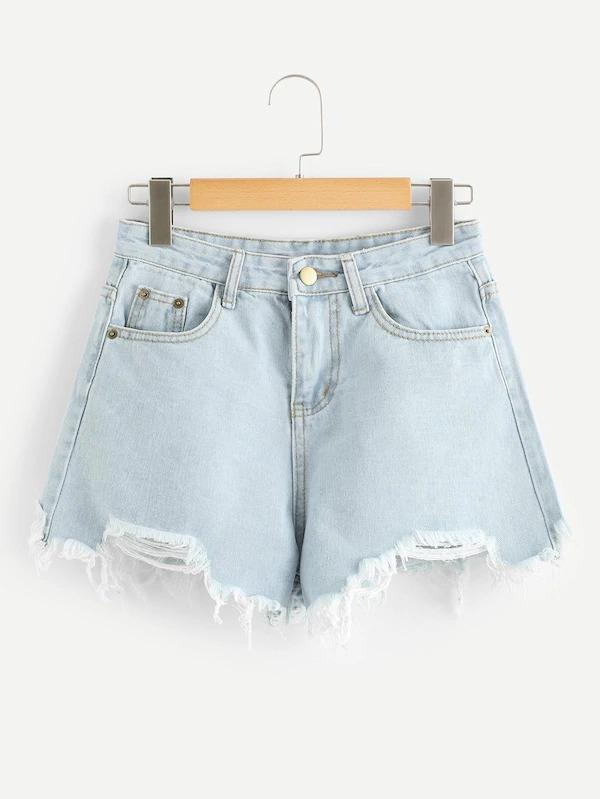 Raw Hem Denim Shorts - zooomberg