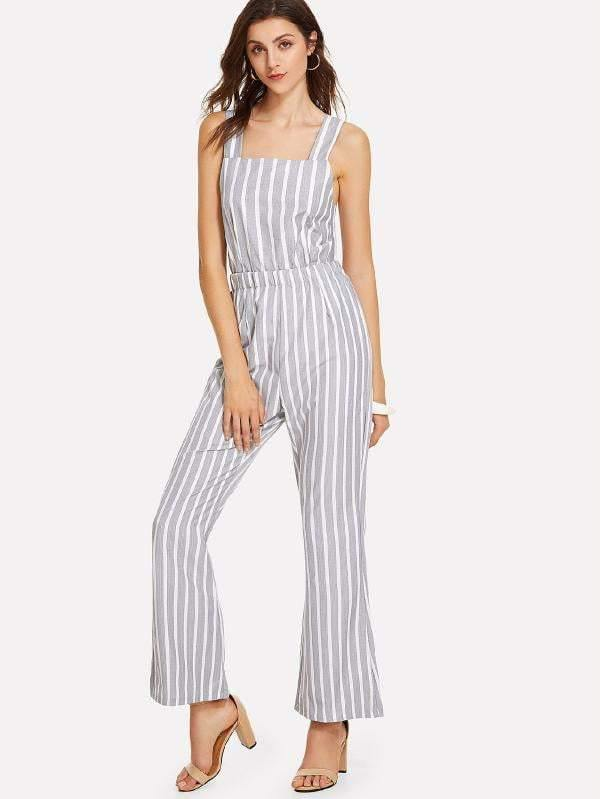 069811f8b886 Grey   White Striped Tie-Back Jumpsuit - Jumpsuits - Zooomberg - Zoomberg