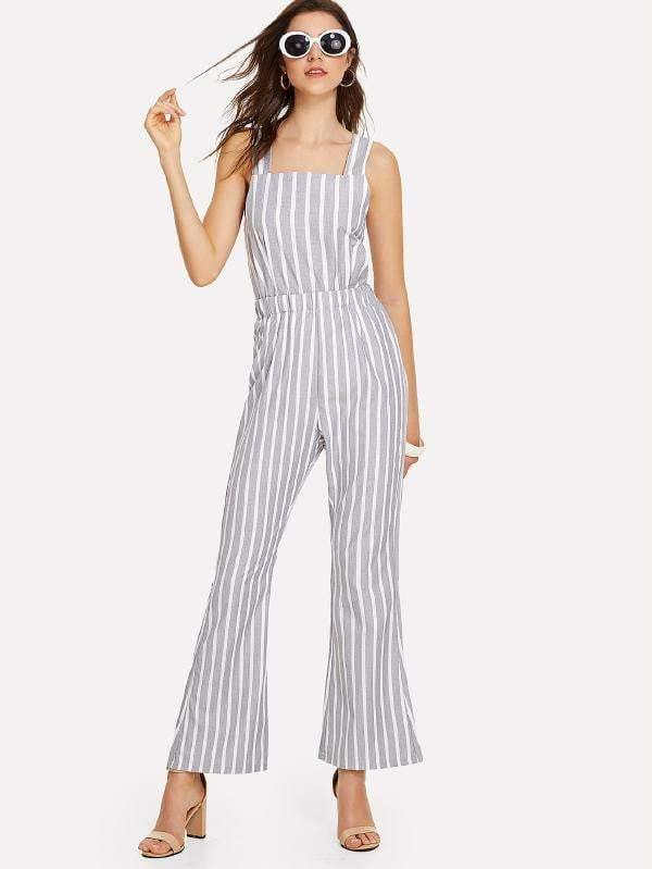 Grey & White Striped Tie-Back Jumpsuit - Jumpsuits - Zooomberg - Zoomberg