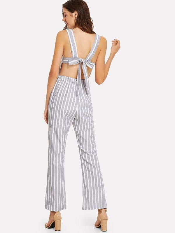 Grey & White Striped Tie-Back Jumpsuit - zooomberg