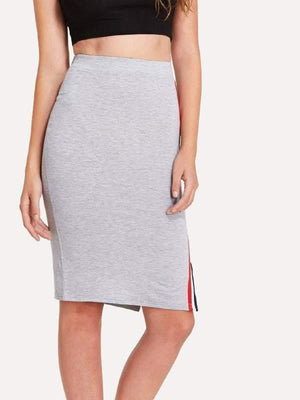 Grey Split Side Bodycon Skirt - Skirts - Zooomberg - Zoomberg
