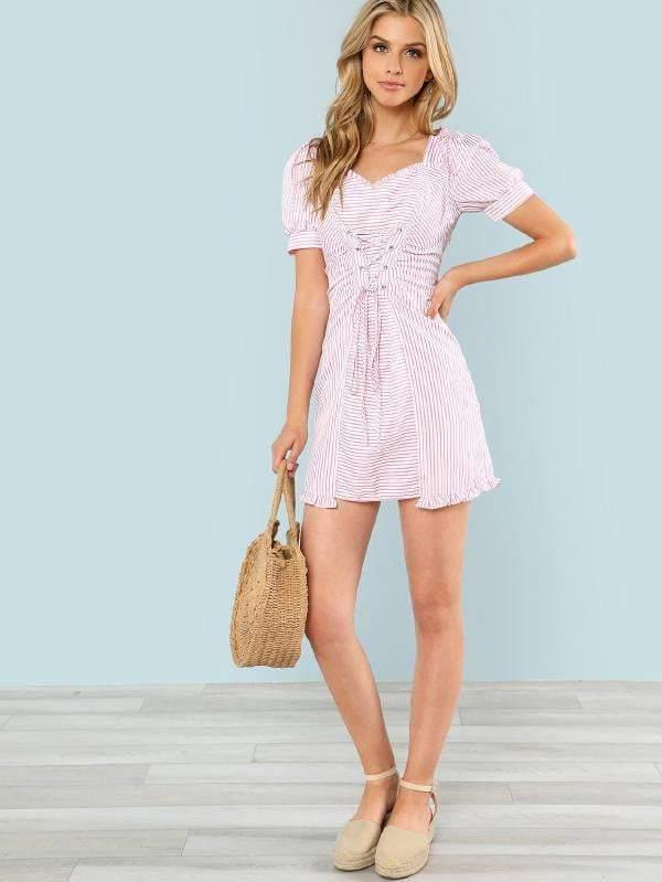Cotton Candy Crisscross Front Dress - Dresses - Zooomberg - Zoomberg