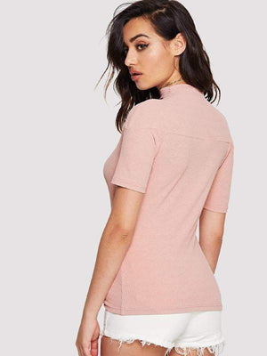 Dusty Pink Cut Out Neck Crop Top - Tops - Zooomberg - Zoomberg