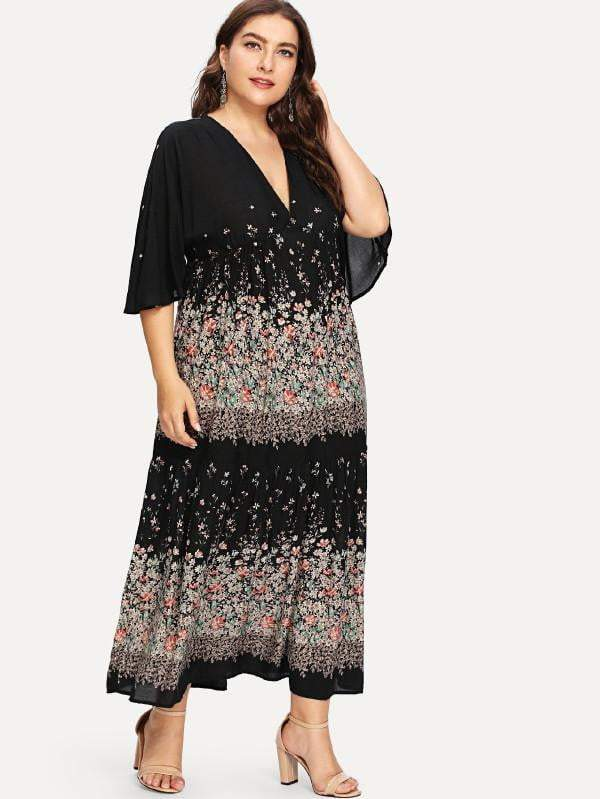 Plus Size Floral Print Maxi Dress - Dresses - Zooomberg - Zoomberg