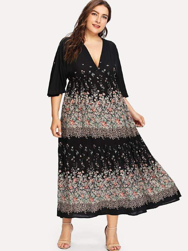 Plus Size Floral Print Maxi Dress - zooomberg