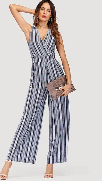 Tie Back Striped Wrap Wide Leg Jumpsuit - zooomberg