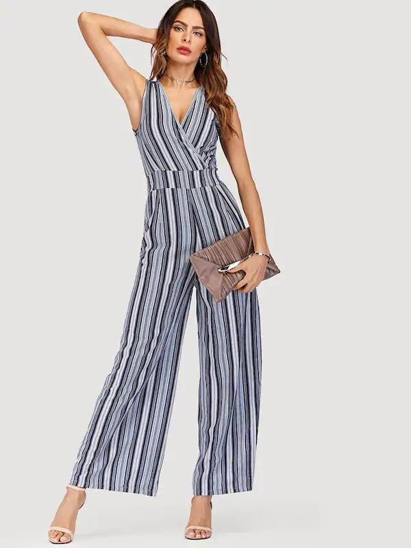 Tie Back Striped Wrap Wide Leg Jumpsuit - Jumpsuits - Zooomberg - Zoomberg