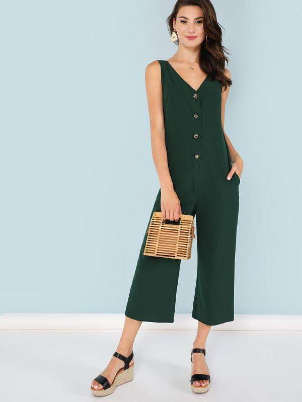 Green Snap-Button Front Solid Jumpsuit - zooomberg