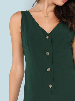Green Snap-Button Front Solid Jumpsuit - Jumpsuits - Zooomberg - Zoomberg