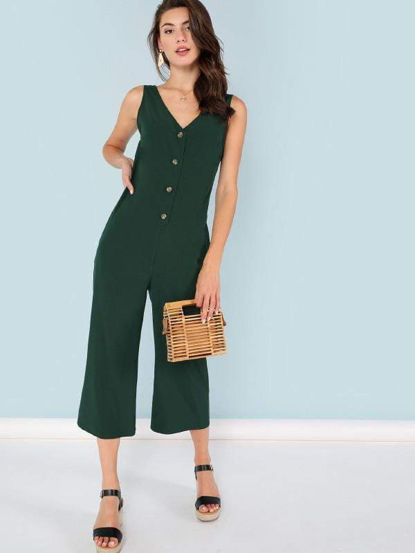 Green Snap-Button Front Solid Jumpsuit