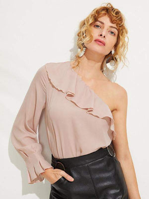 Pastel Pink One Shoulder Blouse