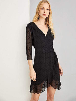 Ruffle Trim Dot Jacquard Wrap Dress