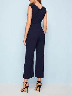 V-Neck Solid Belted Sleeveless Surplice Jumpsuit - Jumpsuits - Zooomberg - Zoomberg