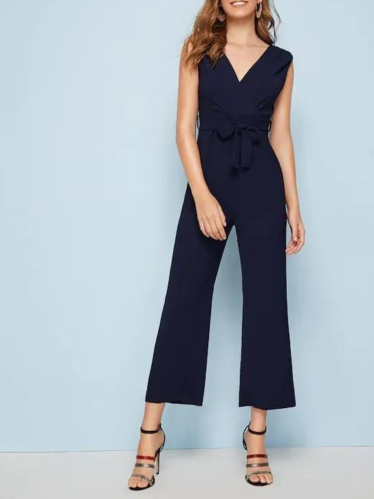 V-Neck Solid Belted Sleeveless Surplice Jumpsuit - zooomberg