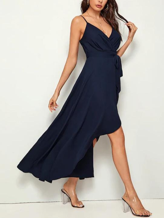 Solid Wrap Belted Slip Dress - zooomberg
