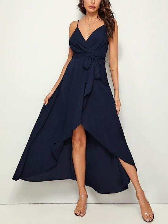 Solid Wrap Belted Slip Dress - Dresses - Zooomberg - Zoomberg