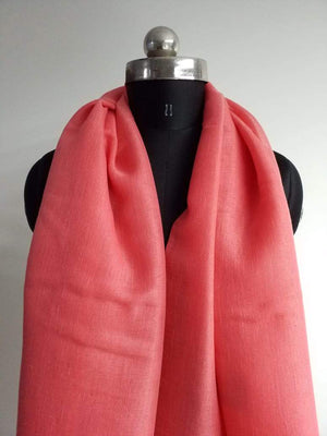 Coral Pink Plain Dyed Linen Textured Fabric - Zooomberg