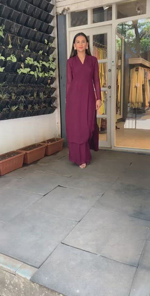Wine Straight Princessline Kurta With Kalidaar Palazzo