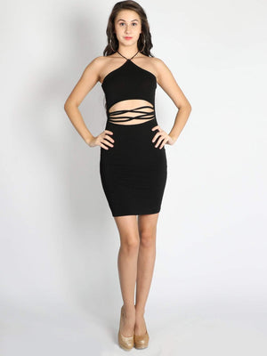 Black Criss Cross Stripe Waist Dress
