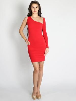 Red Off Shoulder Bodycon Sleeve Dress