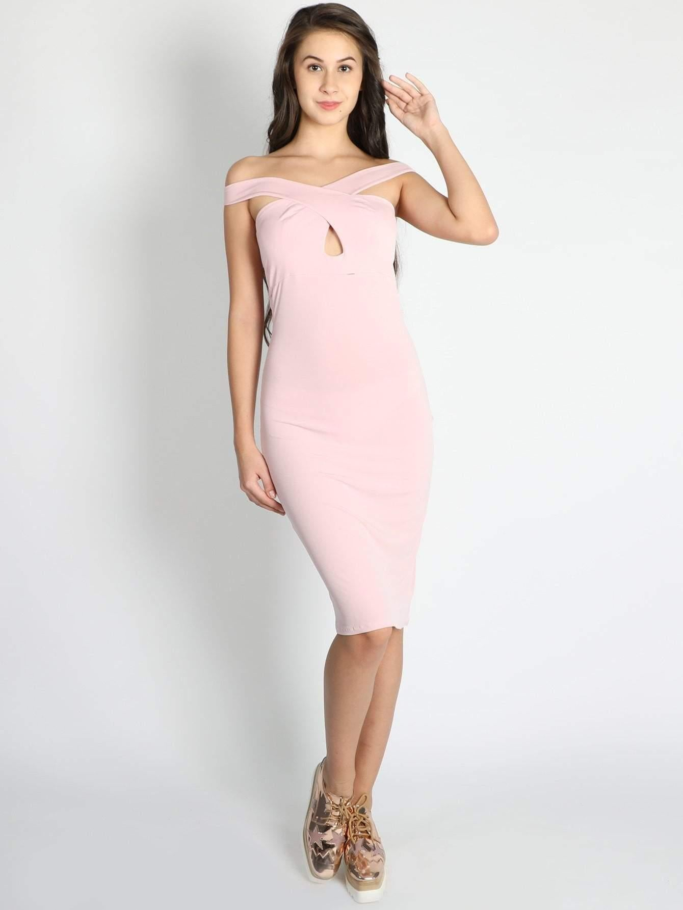 Pink Off Shoulder Criss Cross Front Halter Neck Dress - zooomberg