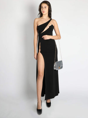 Black  High Slit Cut Out Evening Gown - Dresses - Zooomberg - Zoomberg