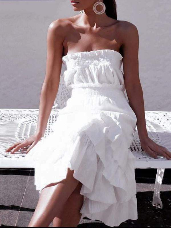 Elegant Two-Piece White Strapless Split Dress