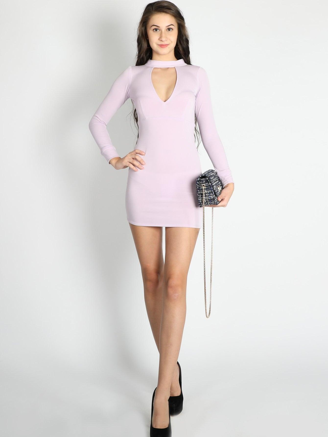 Lilac Deep V Neck Bodycon Dress - zooomberg