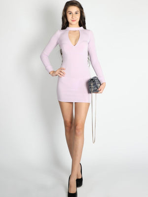 Get Lilac Deep V Neck Bodycon Dress with RS. 745.00