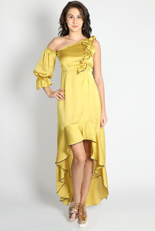 Get Yellow Ruffle Shift One Sleeve Gown with RS. 954.00