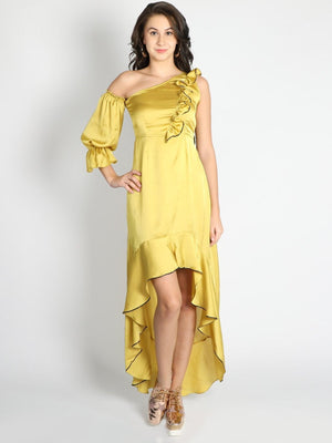 Yellow Ruffle Shift One Sleeve Gown