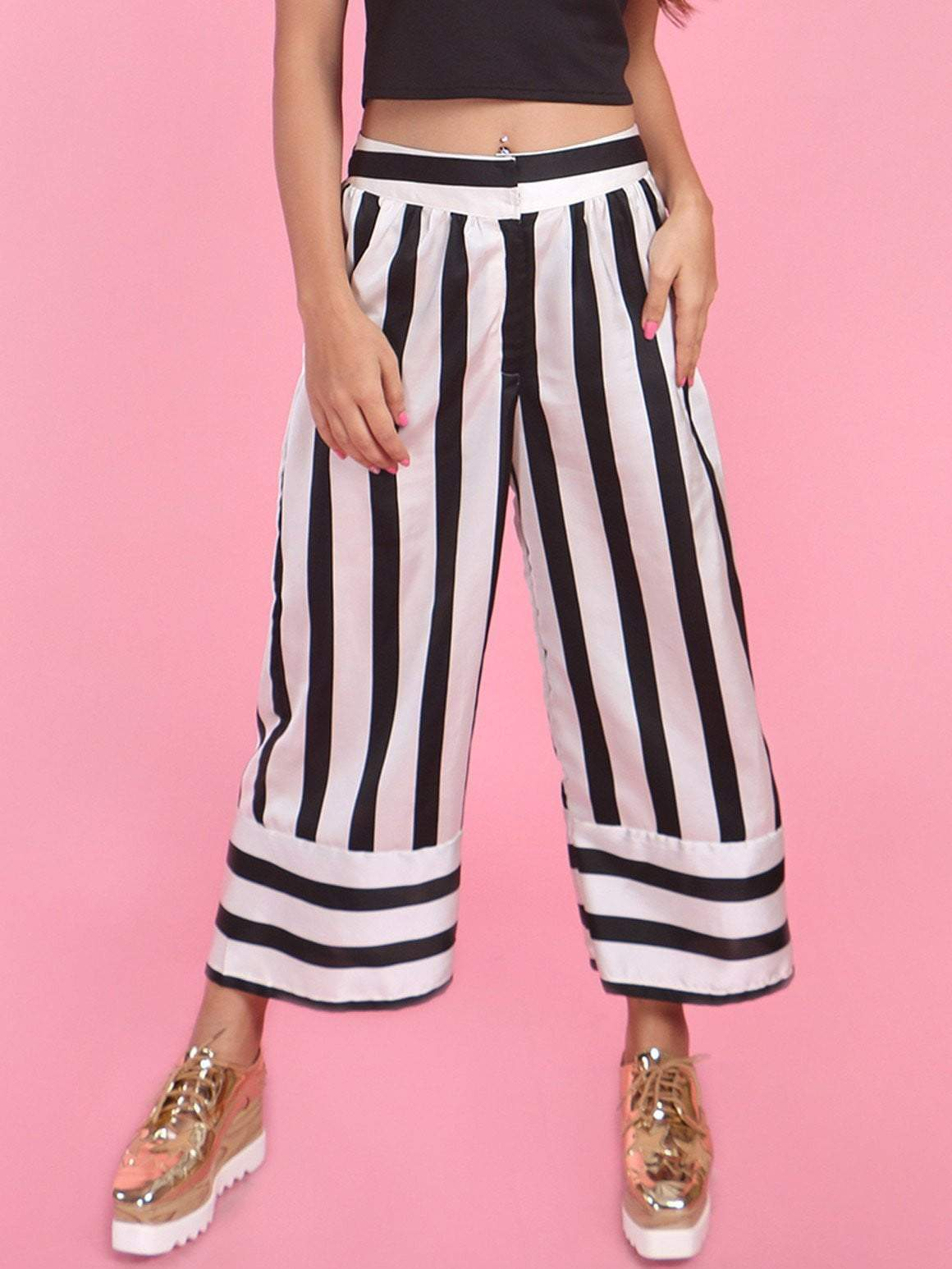 Black & White Stripes Anti-fit Culottes - zooomberg