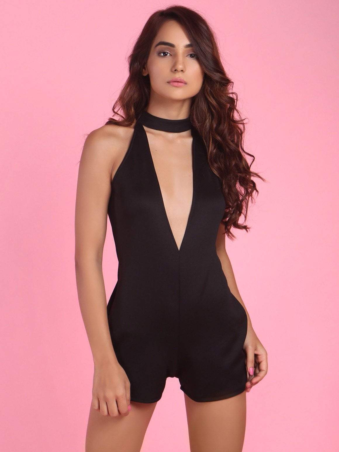 Black Deep V Neck Romper - zooomberg