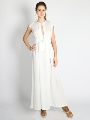 White Box Pleated Gown - Dresses - Zooomberg - Zoomberg