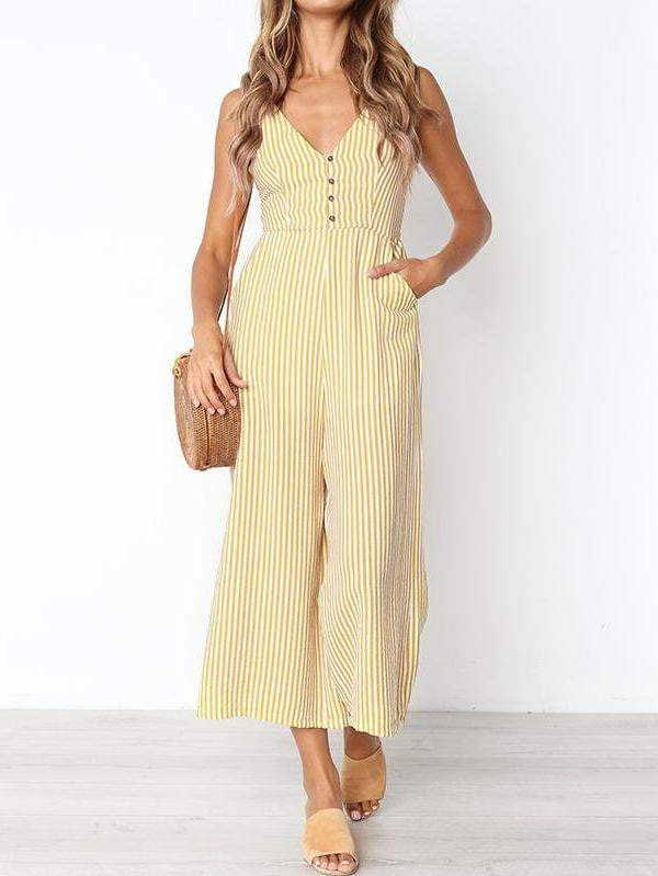 V-Neck Stripe Women Jumpsuit - zooomberg