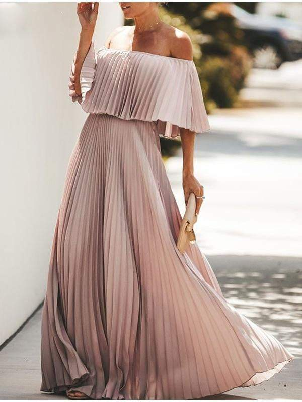Off Shoulder Maxi Ruffle Pleated Long Party Dress - zooomberg
