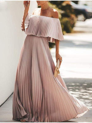 Off Shoulder Maxi Ruffle Pleated Long Party Dress - Dresses - Zooomberg - Zoomberg