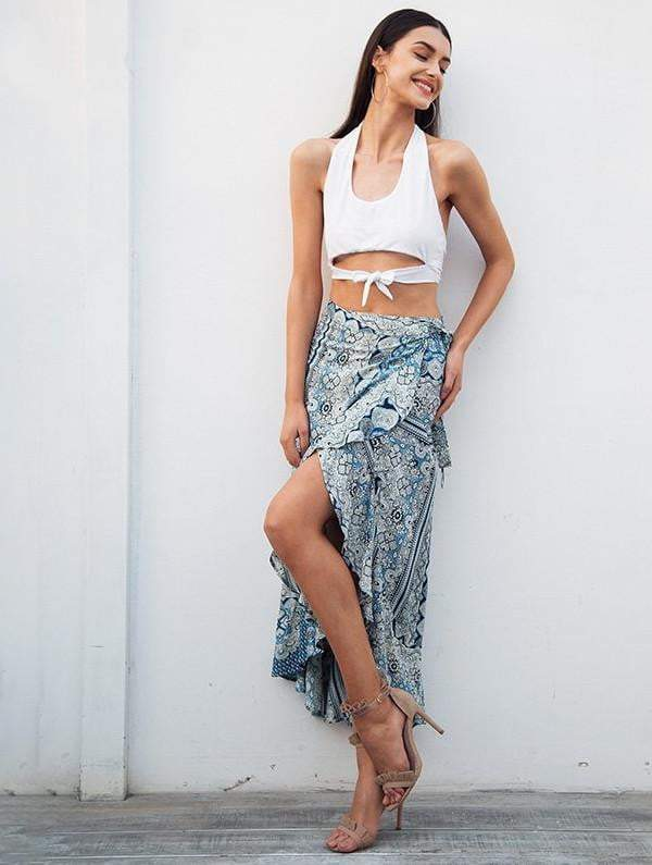 Flower Print Boho Long Skirt