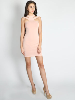 Get Halter Neck Straps Bodycon Dress with RS. 954.00