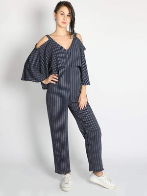 Cape Cold Shoulder Jumpsuit