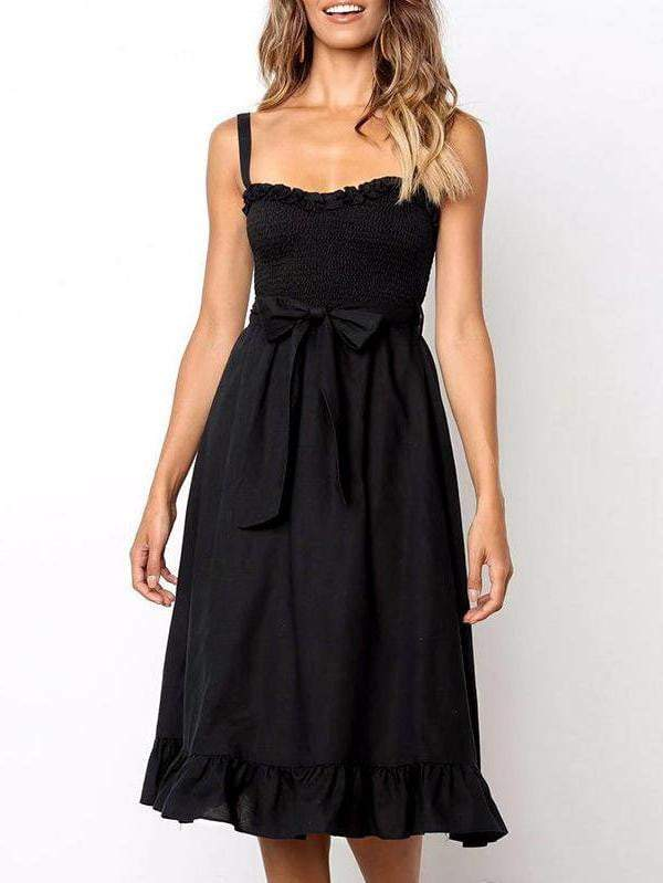 Elegant Casual Spaghetti Strap Bow Lace Summer Dress - zooomberg