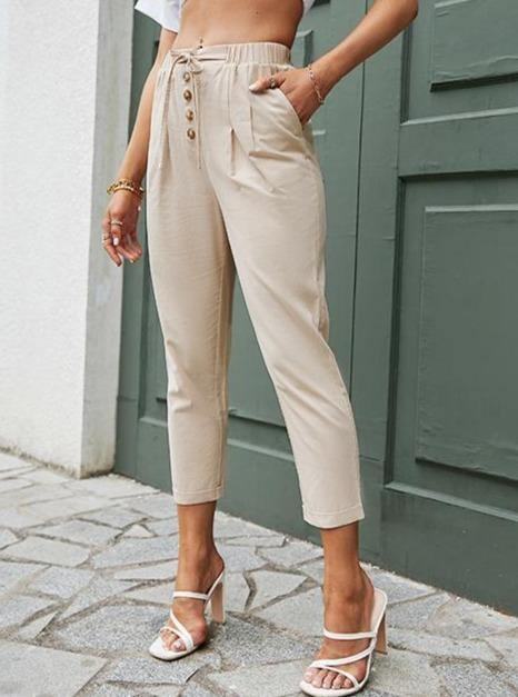 Casual Elastic Waistband Front Bow Trousers