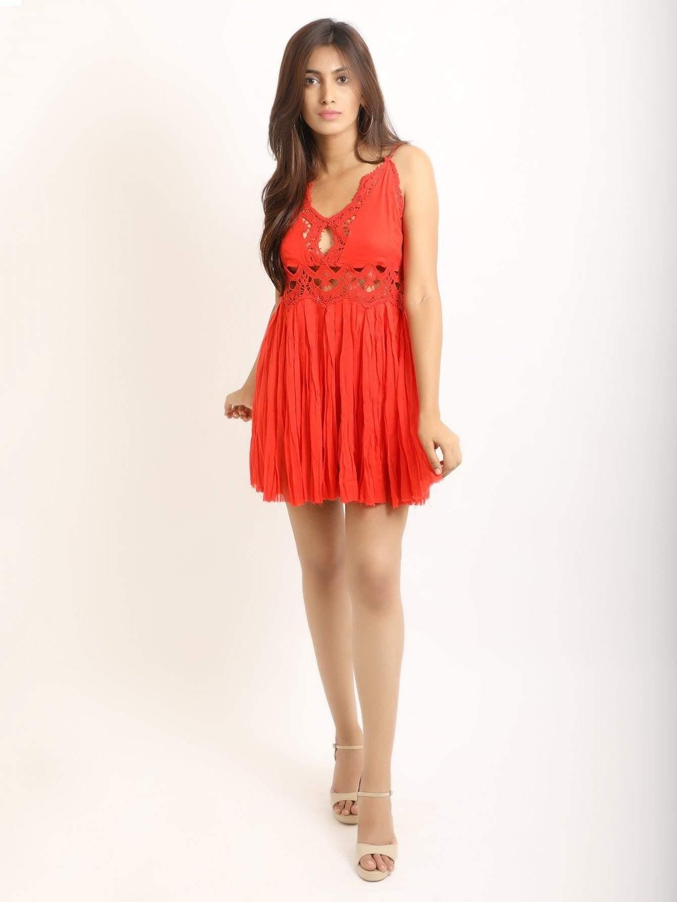 Red Cami Dress With Lace Trims - Dresses - Zooomberg - Zoomberg
