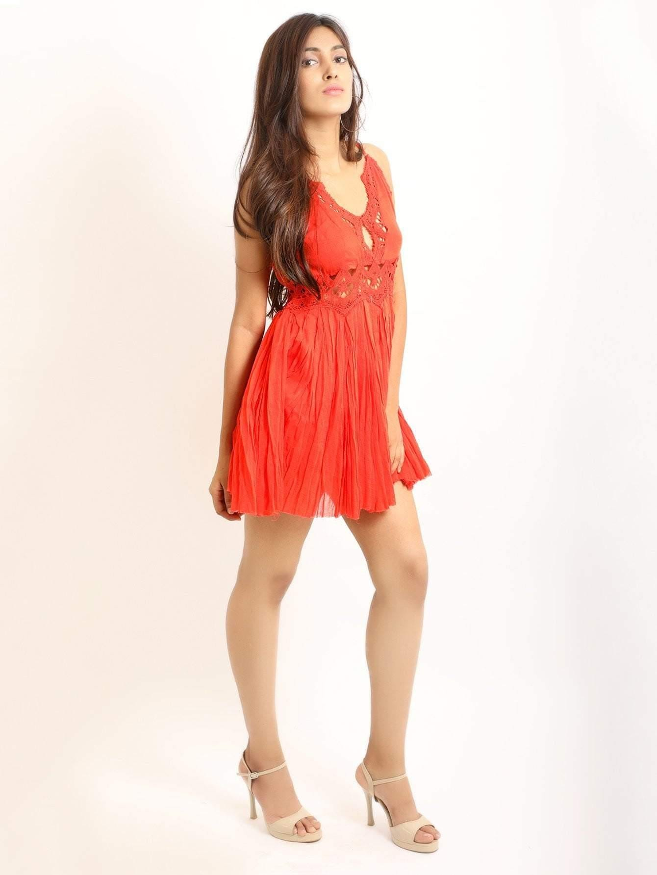 Red Cami Dress With Lace Trims