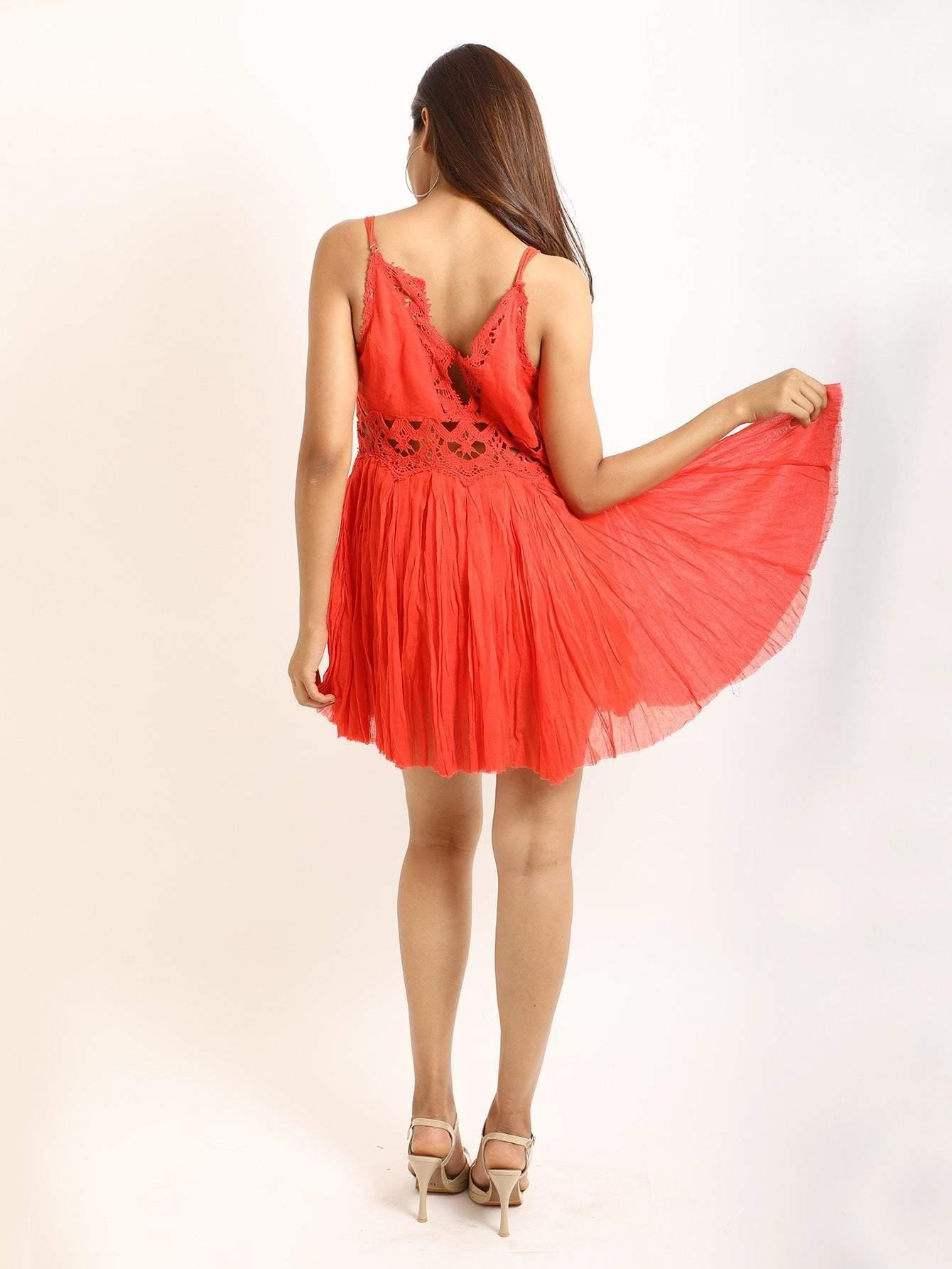 Red Cami Dress With Lace Trims - zooomberg