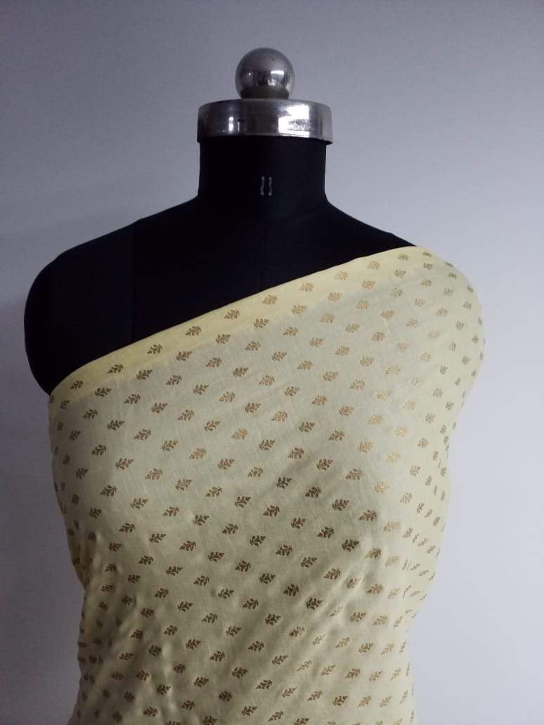 Chandelier Pattern Gold Printed Linen Satin Fabric