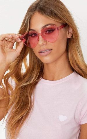 Pink Poppy Color Heart Shaped Rimless Sunglasses