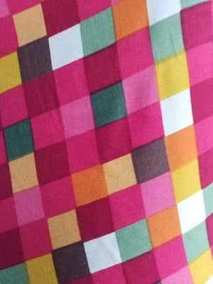 Rayon Checkered Pattern Printed Fabric - Zooomberg