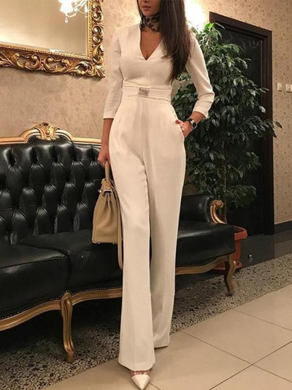 Elegant Rompers Long Sleeve Belt Women Jumpsuits - Jumpsuits - Zooomberg - Zoomberg